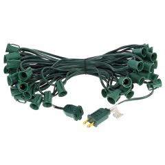 50' C7 Christmas Light Stringer - 50 Sockets - Green Wire