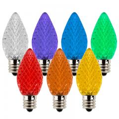C7 LED Bulbs - Diamond Faceted Replacement Christmas Light Bulbs - 5 Lumens