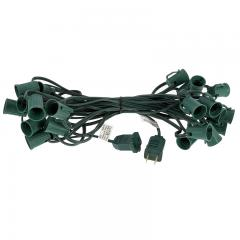 25' C9 Christmas Light Stringer - 25 Sockets - Green Wire
