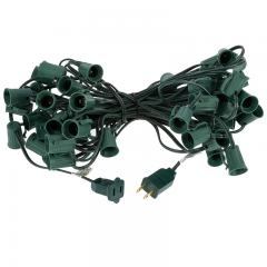 50' C9 Christmas Light Stringer - 50 Sockets - Green Wire
