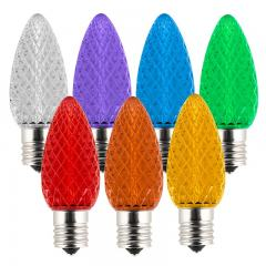 C9 LED Bulbs - Diamond Faceted Replacement Christmas Light Bulbs - 8 Lumens