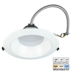 "10"" LED Commercial Recessed Downlight - Selectable CCT - Selectable Wattage - Dimmable - 2200-3300 Lumens"