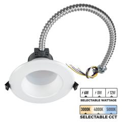 "4"" LED Commercial Recessed Downlight - Selectable CCT - Selectable Wattage - Dimmable - 600-1200 Lumens"