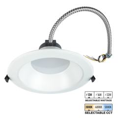 "8"" LED Commercial Recessed Downlight - Selectable CCT - Selectable Wattage - Dimmable - 1200-2200 Lumens"