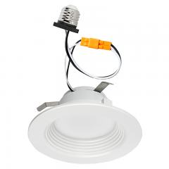 "LED Recessed Lighting Kit for 4"" Cans - Retrofit LED Downlight w/ Baffle Trim - 60 Watt Equivalent - Dimmable - 600 Lumens"