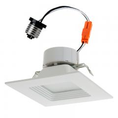 """Square LED Recessed Lighting Kit for 4"""" Cans - Retrofit LED Downlight w/ Baffle Trim - 60 Watt Equivalent - Dimmable - 745 Lumens"""
