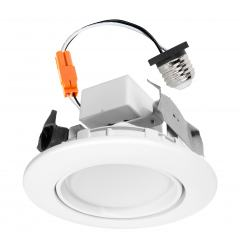 "LED Recessed Lighting Kit for 4"" Cans - Retrofit LED Downlight w/ Gimbal Trim - 60 Watt Equivalent - Dimmable - 670 Lumens"