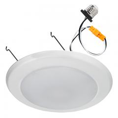 "7"" LED Downlight/Flush Mount Ceiling Light - Retrofit LED Recessed Lighting Kit for 5"" or 6"" Cans - 100 Watt Equivalent - Dimmable - 860 Lumens"