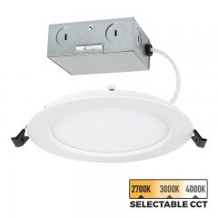 "4"" LED Recessed Downlight - Remote Junction Box - Selectable Color Temperature - 50 Watt Equivalent - Dimmable - 600 Lumens"