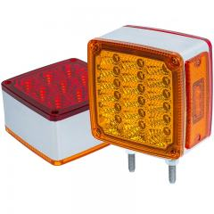 "Square LED Pedestal Double-Faced Truck and Trailer Lights - 4-1/4"" Clearance Lights - Pigtail Connector - Stud Mount - 30 LEDs"