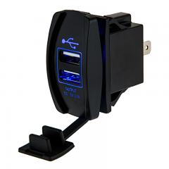 Dual USB Charger LED Rocker Switch Adapter - USB Type A