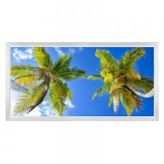 LED Skylight w/ Palm Trees Skylens® - 2x4 Dimmable LED Panel Light - Surface Mount/Drop Ceiling