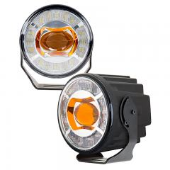 "3-1/2"" LED Projector Fog Lights Conversion Kit w/ Halo Daytime Running Lights - Universal Mount - 230 Lumens"