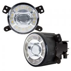 "3-1/2"" LED Projector Fog Lights Conversion Kit w/ Halo Daytime Running Lights - Chrysler/Jeep/Dodge - 500 Lumens"
