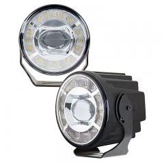 "3-1/2"" LED Projector Fog Lights Conversion Kit w/ Halo Daytime Running Lights - Universal Mount - 230 Lumens"