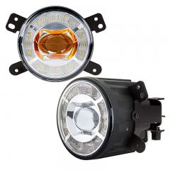 "3-1/2"" LED Projector Fog Lights Conversion Kit w/ Halo Daytime Running Lights - Chrysler/Jeep/Dodge - 500 Lumens"