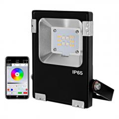 10W WiFi Smart LED Flood Light - RGB+W Flood Light - Smartphone Compatible - RF  Remote Optional - 12V