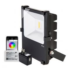 50W Color-Changing WiFi LED Flood Light - RGB+White - Smartphone Compatible - Optional Remote