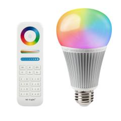 9W A19 MiLight RGB+Tunable White LED Light Bulb - RF Remote Optional - 60W Equivalent - 850 Lumens
