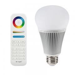 A19 MiLight RGB+Tunable White LED Bulb - 9-Watt (60-Watt Equivalent) - 850 Lumens - RF Remote Included