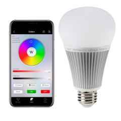 A19 MiLight Wi-Fi Smart LED Bulb - RGB+Tunable White - 9-Watt (60-Watt Equivalent) - 850 Lumens - Smartphone Compatible