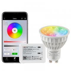GU10 MiBoxer Wi-Fi Smart LED Bulb - RGB+Tunable White - 4-Watt (40-Watt Equivalent) - 280 Lumens - Smartphone Compatible
