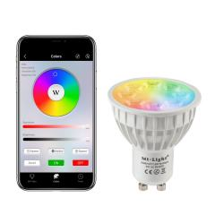 GU10 MiLight Wi-Fi Smart LED Bulb - RGB+Tunable White - 4-Watt (40-Watt Equivalent) - 280 Lumens - Smartphone Compatible