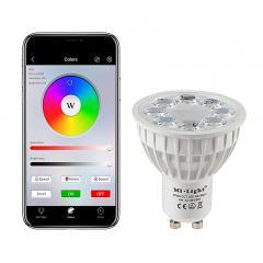 GU10 MiLight Wi-Fi Smart LED Bulb - RGB+Tunable White - 4-Watt (40-Watt Equivalent) - 280 Lumens - Smartphone Compatible