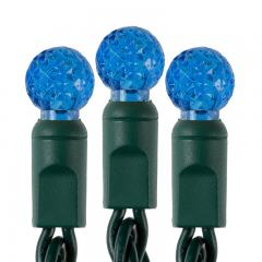 Round Blue LED Christmas String Lights - 25ft - 50 Mini G12 Bulbs - Green Wire