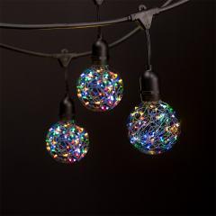 Commercial Grade Outdoor LED String Lights w/ Pendant Sockets - 23' - w/ 10 G95 RGB Fairy Light Bulbs