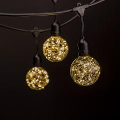 Commercial Grade Outdoor LED String Lights w/ Pendant Sockets - 23' - w/ 10 G95 Warm White Fairy Light Bulbs