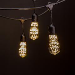 Commercial Grade Outdoor LED String Lights w/ Pendant Sockets - 23' - w/ 10 ST18 Warm White Firework Bulbs