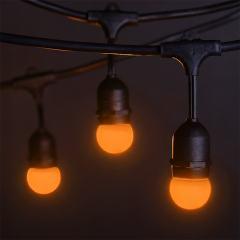 Commercial Grade Outdoor LED String Lights w/ Pendant Sockets - 23' - w/ 10 E27 Amber Globe Bulbs