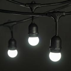 Commercial Grade Outdoor LED String Lights w/ Pendant Sockets - 33' - w/ 15 E27 Cool White Globe Bulbs
