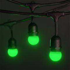 Commercial Grade Outdoor LED String Lights w/ Pendant Sockets - 33' - w/ 15 E27 Green Globe Bulbs