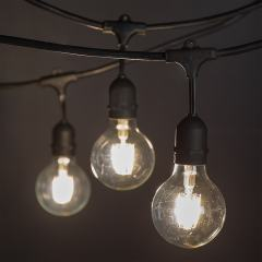 Commercial Grade Outdoor LED String Lights w/ Pendant Sockets - 33' - w/ 15 G25 Warm White Filament Bulbs