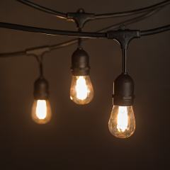 Commercial Grade Outdoor LED String Lights w/ Pendant Sockets - 33' - w/ 15 S14 Ultra Warm White Filament Bulbs