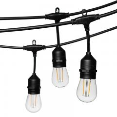48' Outdoor Patio String Lights with 15 LED Filament Bulbs - Suspended Sockets - 2200K/2700K