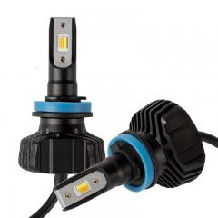H9/H11 Dual-Color LED Headlight Conversion Kit w/ Fog Light Function - White/Yellow - 4,500 Lumens/Set - Fanless