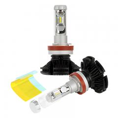 LED Headlight Kit - H11 LED Fanless Headlight Conversion Kit with Adjustable Color Temperature and Compact Heat Sink