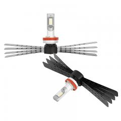 H11 LED Headlight/Fog Light Conversion Kit with Aluminum Finned Heat Sinks - 6,000 Lumens/Set