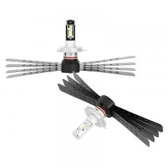 H4 LED Headlight/Fog Light Conversion Kit with Aluminum Finned Heat Sinks - 6,000 Lumens/Set - Cool White