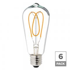 Spiral Filament LED Bulb - ST18 Carbon Filament Style Bulb - Dimmable 20 Watt Equivalent - Heart - 153 Lumens