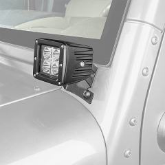 """Jeep Wrangler JK and JK Unlimited (07-2016) Lower Windshield LED Light Mounts - 3"""" Square Auxiliary LED Work Lights"""