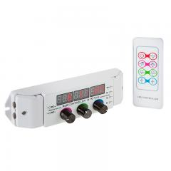 Three Color RGB LED Dimmer with Digital Display and RF Remote - Dynamic Color-Changing Modes - 6 Amps/Channel