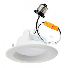 "LED Recessed Lighting Kit for 4"" Cans - Retrofit LED Downlight w/ Open Trim - 60 Watt Equivalent - Dimmable - 900 Lumens"