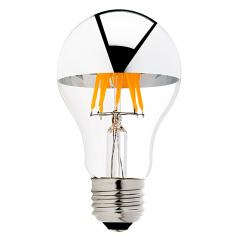 6W A19 Filament LED Light Bulb - Silver Tipped Filament Bulb - Dimmable - 40W Equivalent - 490 Lumens