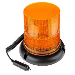 "6-3/4"" Amber LED Strobe Light Beacon - Magnetic Base - 12V Adapter - Single Flash Pattern"