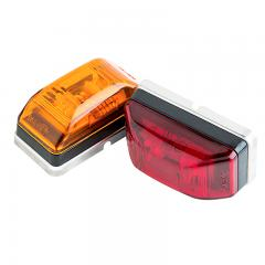 "Rectangular LED Truck and Trailer Lights - 2-1/8"" PC Rated LED Side Clearance Lights - Pigtail Connector - Stud Mount - 3 LEDs"