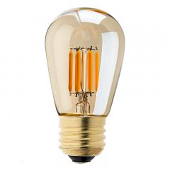 LED Vintage Light Bulb - S14 LED Sign Bulb w/ Gold Tint - 11W Equivalent Filament LED - Dimmable - 223 Lumens